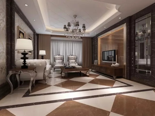 软饰: 欧式花纹壁纸,欧式灯具,线条简化的真皮沙发,皮革餐椅,简约而