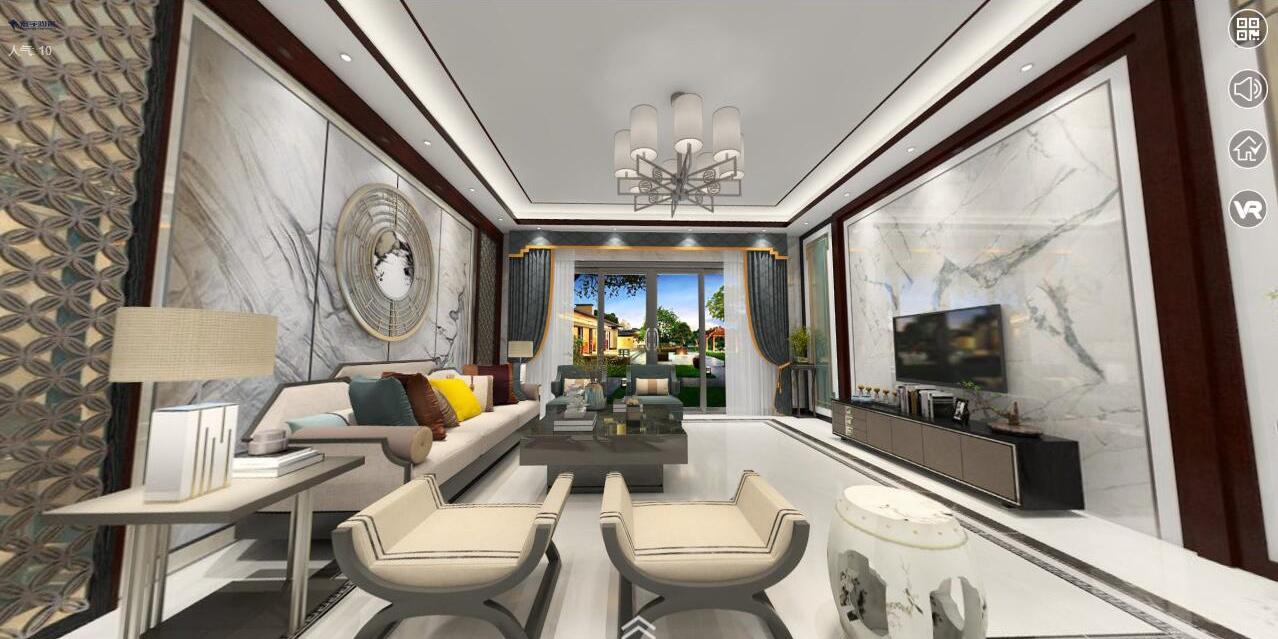 HG80093白砂岩-HG80087金色天空-新中式客餐厅